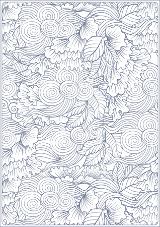 Asian Japanese tradition pattern. A4 format blank with decorative pattern in blue colors. illustration.