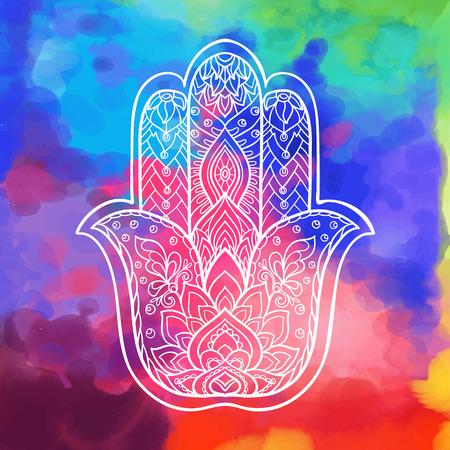 Indian drawn hamsa symbol with ethnic ornaments. White on black background Illustration