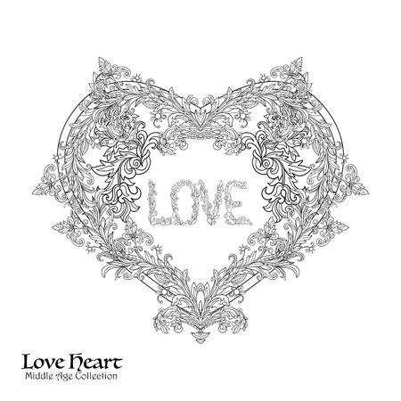 Decorative Love Heart in rococo, victorian, renaissance, baroque, royal style. Good for greeting card for birthday, invitation . illustration. Outline drawing. Coloring book for adult and older children. Outline drawing coloring page. Illustration