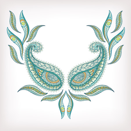 Neck Line Embroidery Designs Ornamented With Turkish Paisley