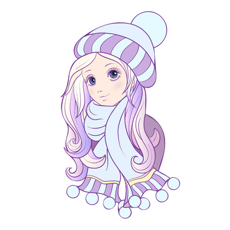 winter hat: The girl with big eyes in a winter hat and scarf. illustration in anime style. This illustration can be used as a print on T-shirts, bags, tattoo, badges or patch