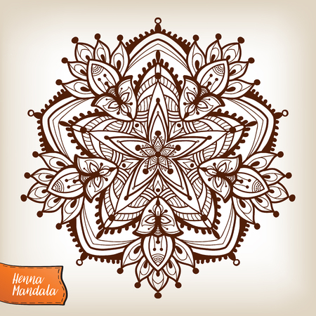 mendi: Decorative indian henna mandala. This illustration can be used as a print on T-shirts, bags, tattoo, badges or patch  Illustration