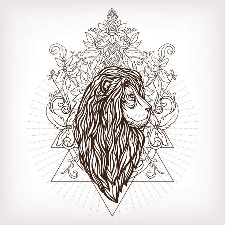 Vector ornamental Lion head with sacred geometry. Hand drawn illustration. Tattoo, astrology, alchemy, boho and magic symbol. Vektorové ilustrace