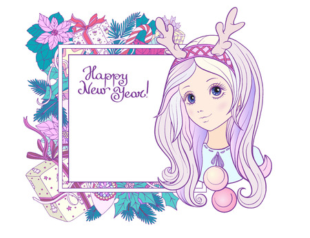 Young girl with long purple hair with a rim for hair with antlers with Christmas wreath. Merry Christmas or Happy new year card. Stock line vector illustration.