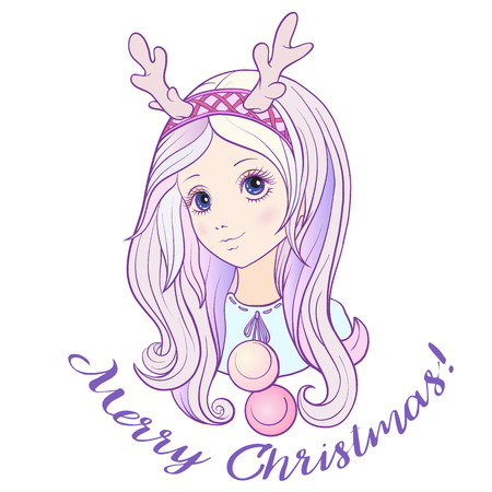 rim: Young girl with long purple hair with a rim for hair with antlers. Stock line vector illustration. Illustration
