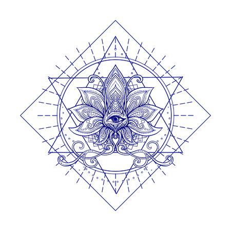 Vector il fiore di loto ornamentale, la geometria sacra, l'occhio. Illustrazione disegnata a mano Tatuaggio, astrologia, alchimia, boho e simbolo magico.