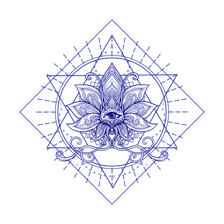 Vector ornamental Lotus flower, sacred geometry, eye. Hand drawn illustration. Tattoo, astrology, alchemy, boho and magic symbol. Ilustracja