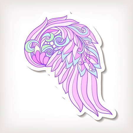 decorate notebook: Fashion patch badges with decorative angel or bird wings. This illustration can be used as a greeting card or as a print on T-shirts, bags, tattoo, badges or patch. Stock line vector illustration.