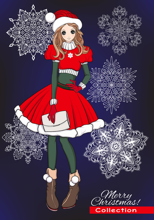 santa helper: Christmas, x-mas, winter, happiness concept - kawaii cartoon doodle girl in santa helper hat and costume. With decorative snowflakes on black background. Stock line vector illustration.