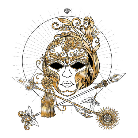 stage costume: Venetian carnival mask and crossed swords. In decorative style. This illustration can be used as a print on T-shirts, bags, tattoo, badges or patch Illustration