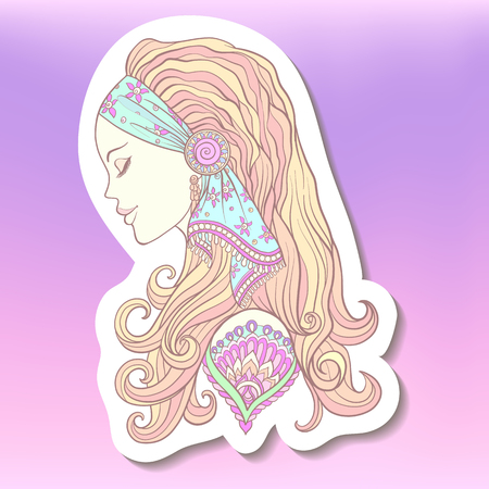 Fashion patch badges with Young woman with long hair in medieval costume. Portrait in profile. The decorative style. Stock line vector illustration.