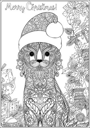 Decorativo Estampado Gato En El Sombrero De Santa Claus En Un Fondo ...