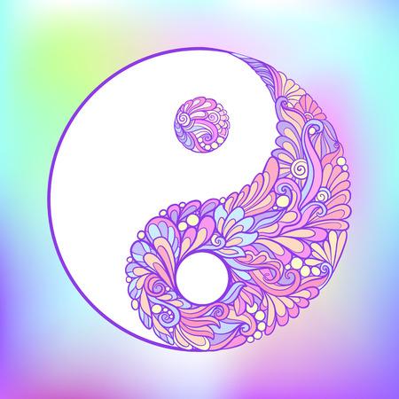 Símbolo de yin y yang. Esta ilustración se puede utilizar como una impresión en camisetas, bolsos, tatuajes, insignias o parches Ilustración de vector de línea de stock.