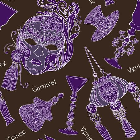 Venetian carnival mask, Venetian glass, bag, fan. Seamless pattern Illustration