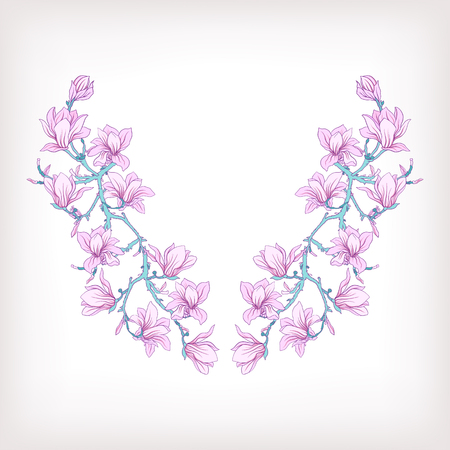 Neck Line Embroidery Designs With A Pattern Of Flowers And Branches