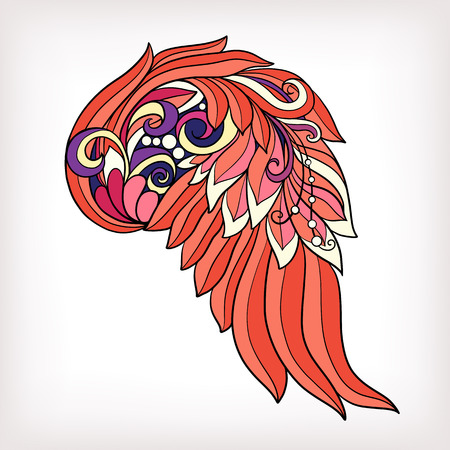 decorate notebook: Decorative angel or bird wings. This illustration can be used as a greeting card or as a print on T-shirts, bags, tattoo, badges or patch. Stock line vector illustration.