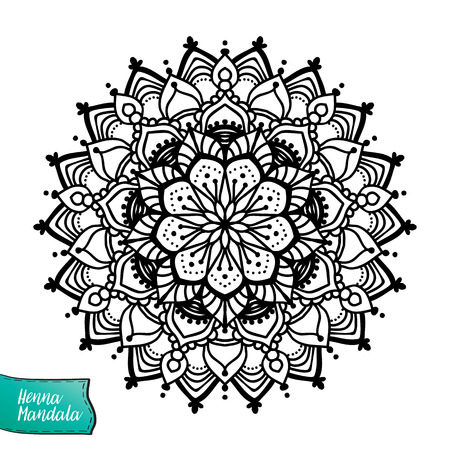 mendi: Decorative indian henna mandala. This illustration can be used as a print on T-shirts, bags, tattoo, badges or patch Coloring book for adult. Outline drawing coloring page.