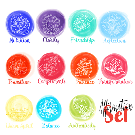 affirmation: Vector watercolor stains circles collection. Watercolor stains set isolated on white background with yoga symbols and affirmation words. Stock vector illustration.