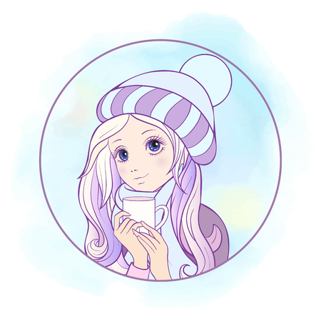 The girl with big eyes in a winter hat and scarf and cap of tea. Illustration in anime style . This illustration can be used as a print on T-shirts, bags, tattoo, badges or patch.