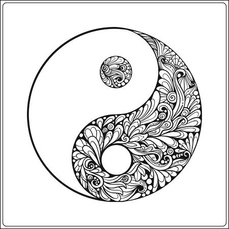Symbol of yin and yang. In gold on black background Coloring book for adult. Outline drawing coloring page