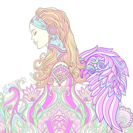 Young woman with long hair with angel wings in medieval costume on decorative pattern background. Portrait in profile. The decorative style. Stock line vector illustration.