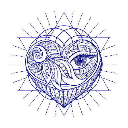 Vector ornamental Love Heart, sacred geometry, eye. Hand drawn illustration. Tattoo, astrology, alchemy, boho and magic symbol. Illustration