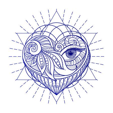 Vector sier Love Heart, heilige geometrie, oog. Hand getrokken illustratie. Tattoo, astrologie, alchemie, boho en magisch symbool. Stock Illustratie