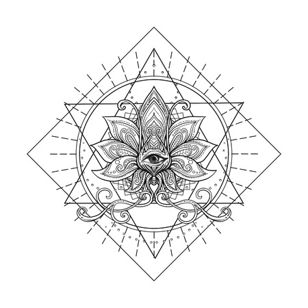 Vector ornamental Lotus flower, sacred geometry, eye. Hand drawn illustration. Tattoo, astrology, alchemy, boho and magic symbol.  イラスト・ベクター素材