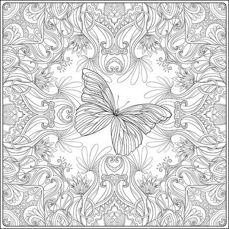 Modelo con los motivos tradicionales japoneses, mariposas y corazones de amor. Libro de colorante para los adultos. Esbozar dibujo para colorear. ilustración vectorial de la línea.