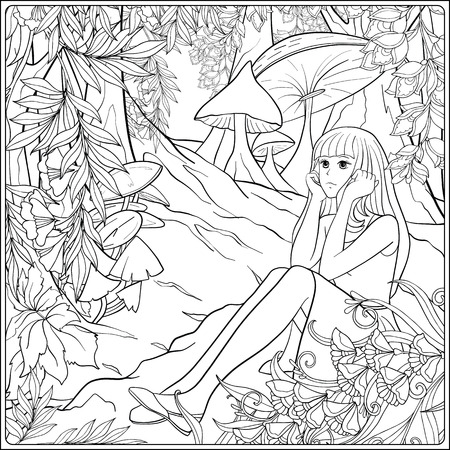 Girl Alice in the woods in the meadow with trees and mushrooms. Outline drawing coloring page. Coloring book for adult. Stock line vector illustration.