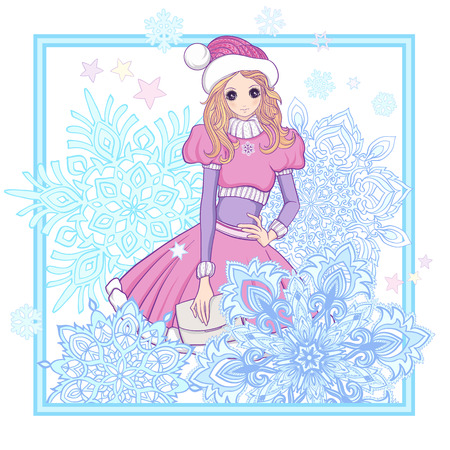 anime young: Girl in the of Santa Claus costume and Santas helpers hat with a snowflakes . This illustration can be used as a print on T-shirts, bags,