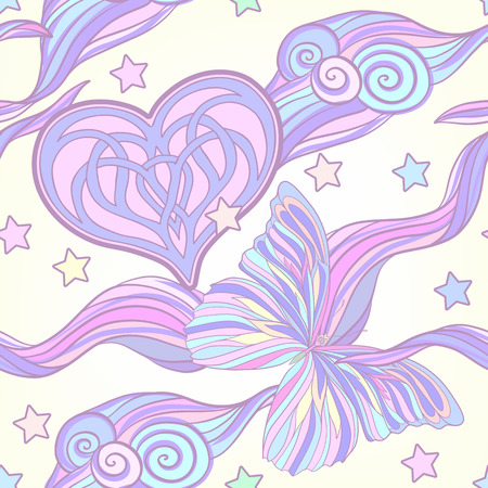 motifs: Seamless pattern with traditional Japanese motifs, butterflies, hearts in pastel and vanilla colors. Illustration
