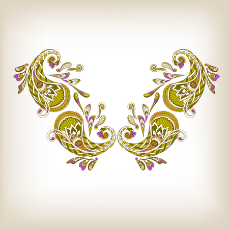 Neck line embroidery designs ornamented with Turkish paisley. Stock line vector illustration. Illustration