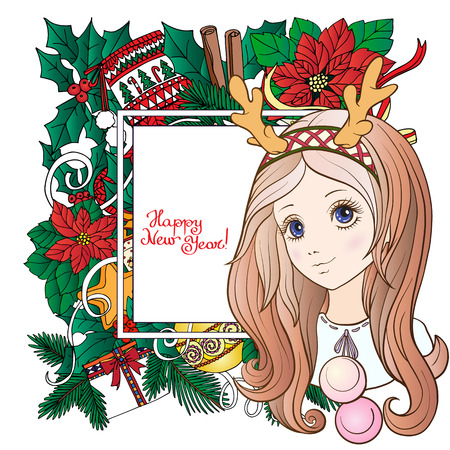 rim: Young girl with long purple hair with a rim for hair with antlers with Christmas wreath. Merry Christmas or Happy new year card. Stock line vector illustration.