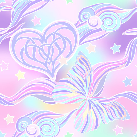 Seamless pattern with traditional Japanese motifs, butterflies, hearts in pastel and vanilla colors. Illustration