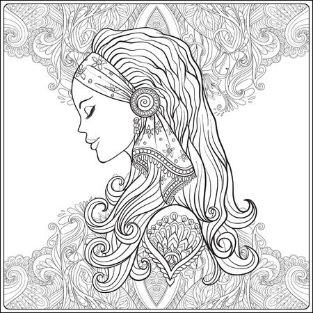 dessin au trait: Jeune femme avec de longs cheveux en costume médiéval décoratif motif de fond. Portrait de profil. Le style décoratif. vecteur ligne Stock illustration. livre à colorier pour les adultes. Outline dessin de coloriage page. Illustration