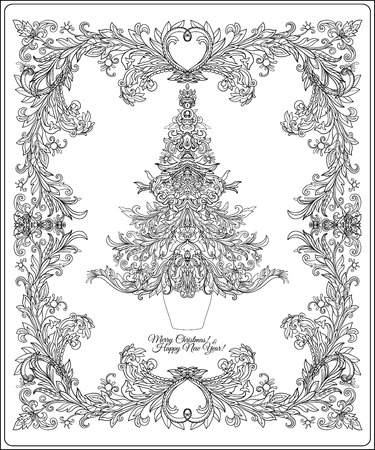 Christmas Tree Contour Drawing Good For Coloring Page For The  - Medieval Christmas Tree
