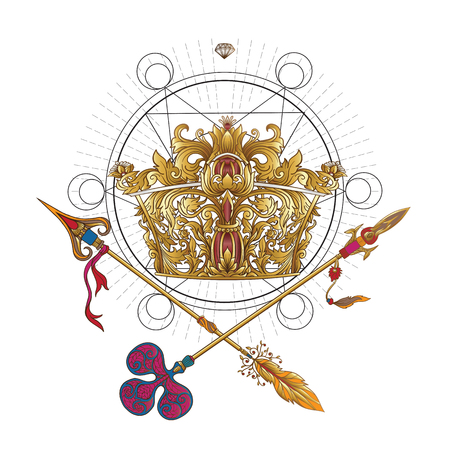 decorate notebook: Golden royal crown and crossed swords with sacred geometry symbol. This illustration can be used as a print on T-shirts, bags, tattoo, badges or patch Illustration