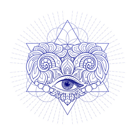 sacred heart: Vector ornamental Love Heart, sacred geometry, eye. Hand drawn illustration. Tattoo, astrology, alchemy, boho and magic symbol. Illustration