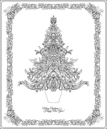 RBol De Navidad Decorativo En El Marco De Estilo Medieval. Esbozar ...