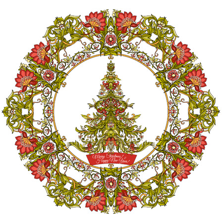 Decorative Christmas tree in the medieval-style frame. Good for greeting card for birthday, invitation or banner Stock line vector illustration.