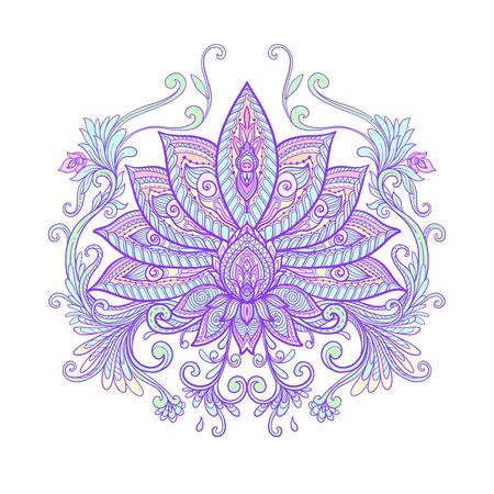 Vector ornamental Lotus flower, ethnic art, patterned Indian paisley. Hand drawn illustration. Tattoo, astrology, alchemy, boho and magic symbol.