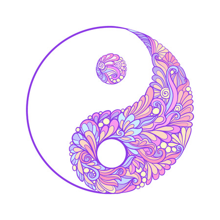 yin y yan: Symbol of yin and yang. This illustration can be used as a print on T-shirts, bags, tattoo, badges or patch Stock line vector illustration.