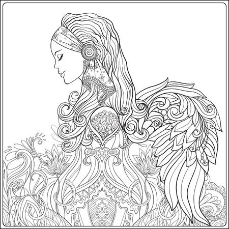 Jonge vrouw met lang haar in middeleeuws kostuum met engelenvleugels op decoratief patroon achtergrond. Portret in het profiel. De decoratieve stijl. De lijn vector illustratie. Kleurboek voor volwassen. Overzichtstekening kleurplaat.