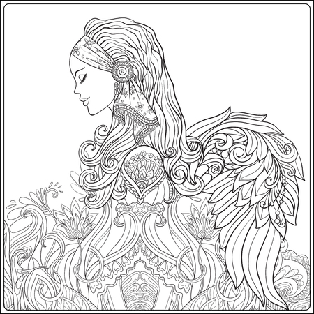 Young woman with long hair in medieval costume with angel wings on decorative pattern background. Portrait in profile. The decorative style. Stock line vector illustration. Coloring book for adult. Outline drawing coloring page. Иллюстрация