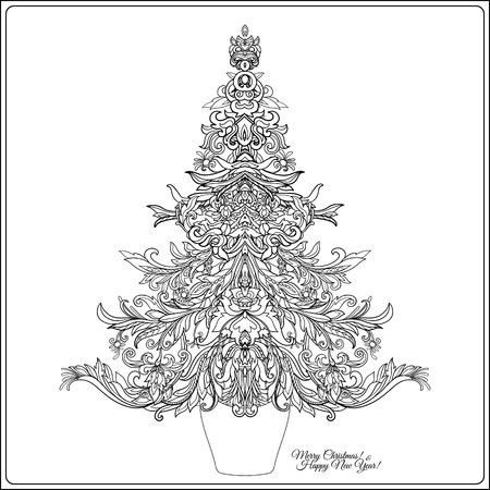 Rbol De Navidad Decorativo En El Marco De Estilo Medieval. Bueno ...