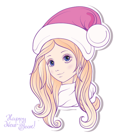 anime young: Young girl with long hair in a hat of Santa Claus helper. Stock line vector illustration.