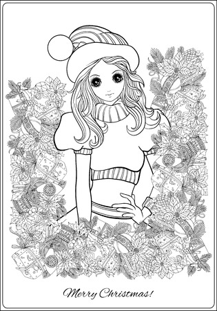 outline drawing coloring page girl in the hat of santa claus costume and santas helper with a christmas wreath of