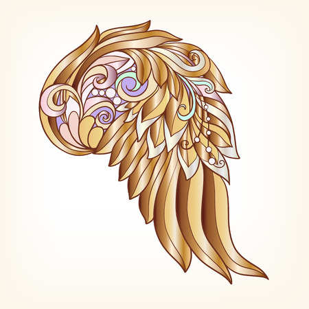 decorate notebook: Decorative gold angel or bird wings . This illustration can be used as a greeting card or as a print on T-shirts, bags, tattoo, badges or patch. Stock line vector illustration. Illustration