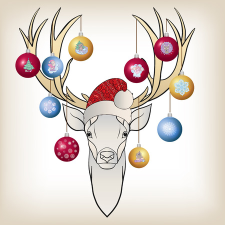 costume ball: Deer head in the cap of Santa Claus with New Years balls on the horns. Stock line vector illustration. Illustration